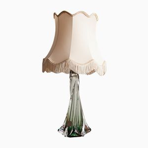Lamp with Green Crystal Base from Val St Lambert, 1960s
