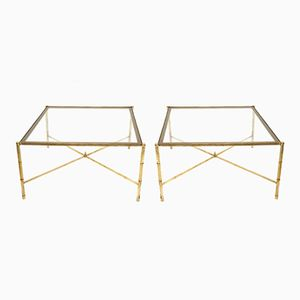 Brass Coffee Tables with Sandblasted Glass Top, 1960s, Set of 2