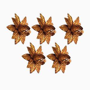 Florale vintage Regency Wandlampen oder Deckenlampen aus vergoldetem Metall, 5er Set