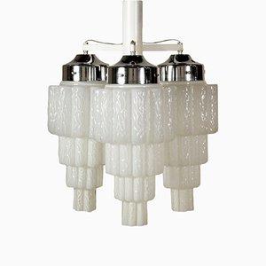 Metal & Glass Ceiling Lamp, 1960s