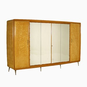 Durmast Veneer, Mirror & Brass Wardrobe, 1950s