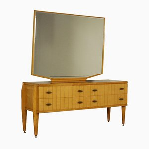 Maple & Beech Chest of Drawers with Mirror, 1950s