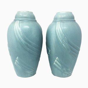Französische Art Deco Keramik Vasen, 1930er, 2er Set