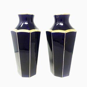 Französische Art Deco Keramik Vasen von Moulin Des Lupes, 1930er, 2er Set