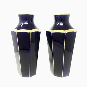 French Art Deco Ceramic Vases from Moulin Des Lupes, 1930s, Set of 2