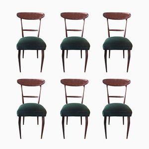 Esszimmerstühle aus grünem Samt von Ico & Luisa Parisi, 1950er, 6er Set