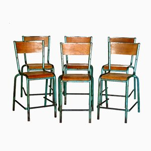 Vintage French Industrial Chairs by Jean Prouvé, Set of 6