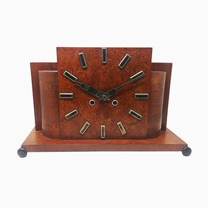 French Art Deco Briar Root Table Clock, 1930s