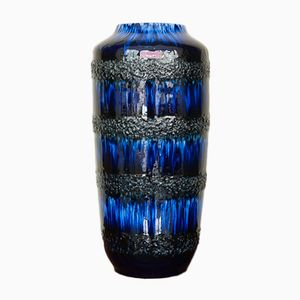 German Blue Mottled Floor Vase from Scheurich, 1960s