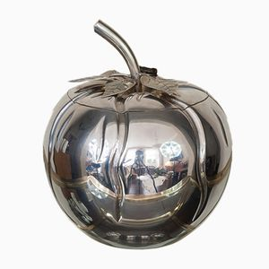 Vintage Italian Chrome Pumpkin Ice Bucket, 1970s