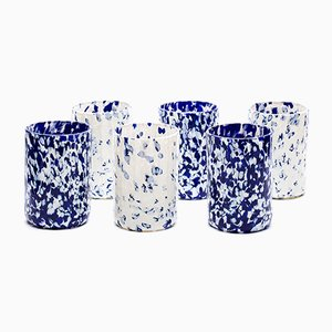 Macchia su Macchia Ivory & Blue Glasses by Stories of Italy, Set of 6