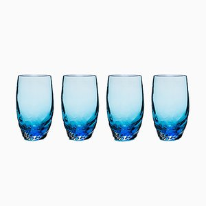 Dattero Aquamarine Glasses by Stories of Italy, Set of 4