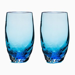Dattero Aquamarine Glasses by Stories of Italy, Set of 2