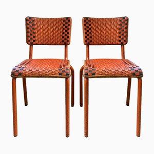 Vintage Metal & Rattan Bistro Chairs, Set of 2
