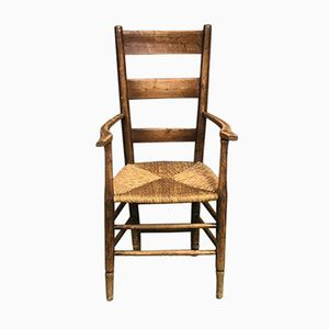 19th-Century Rustic Oak Armchair