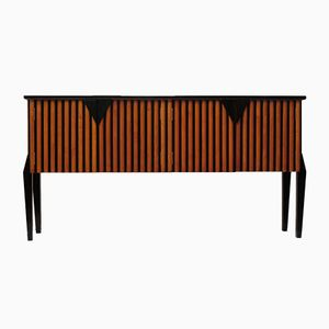 Italian Art Deco Cherrywood and Black-Lacquered Sideboard, 1940s