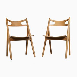 CH29 Sawbuck Chairs by Hans J. Wegner for Carl Hansen & Søn, 1950s, Set of 2