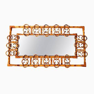 French Rattan Framed Mirror, 1950s