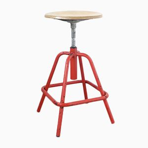 Vintage Red Industrial Swivel Stool