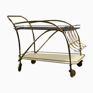 Brass Bar Cart with Black & White Glass Top, 1950s