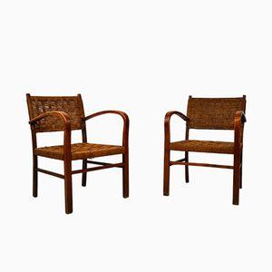 Französische Stühle aus Buche & Geflecht, 1950er, 2er Set