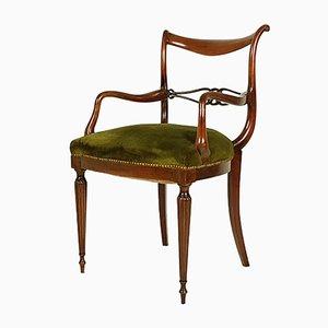 Italienischer Mid-Century Armlehnstuhl aus Holz & grünem Samt