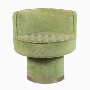 Spanischer grüner vintage Armlehnstuhl, 1970er