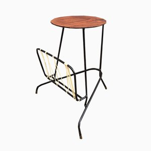 Vintage Danish Tripod Side Table with Magazine Rack, 1950s