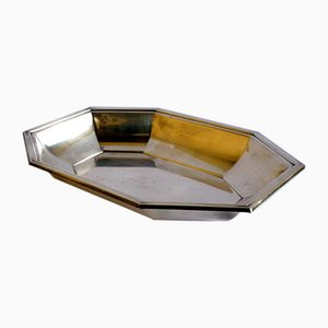 French Silver Tray from Christofle Fleuron, 1950s