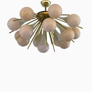 Mid-Century Sputnik Chandelier in Murano Glass & Brass
