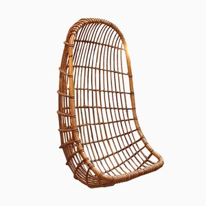 Hanging Rattan Egg Chair, 1960s