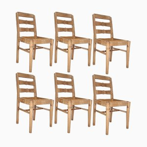 Vintage French Oak Chairs, Set of 6