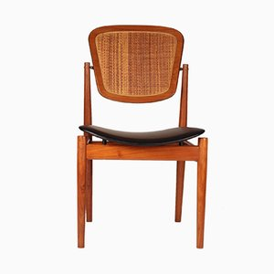 Sedia in teak, canna e pelle di Arne Vodder per France & Son, anni '60