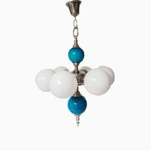 Vintage Spanish Pendant Lamp in Blue & White