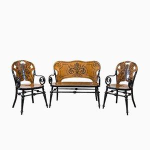 Antikes Tresillo Wohnzimmer Set, 1900er