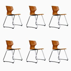 Pagwood Stacking Dining Chairs by Adam Stegner for Flötotto, 1970s, Set of 6