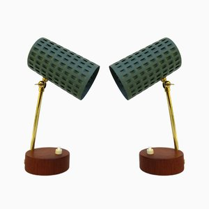 Scandavian Teak Veneered Table Lamps, Set of 2