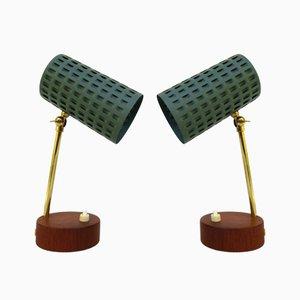 Scandavian Teak Veneered Table Lamps, Set of 2