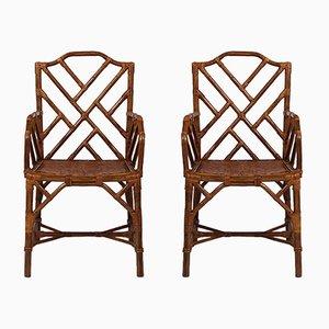 Chaises de Salon Vintage en Bambou, Set de 2