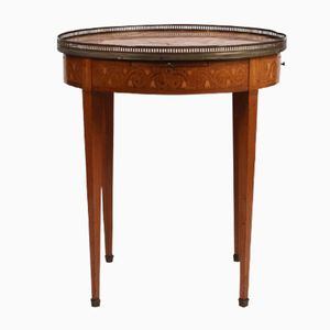 Antique Louis XVI Style Bouillotte Table with Floral Marquetry