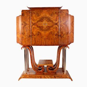 Italian Art Deco Cocktail Cabinet in Walnut
