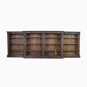 Viktorianisches geschnitztes Eichenholz Bücherregal
