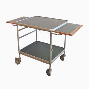 Chariot Industriel Vintage en Linoléum en Métal et Bois