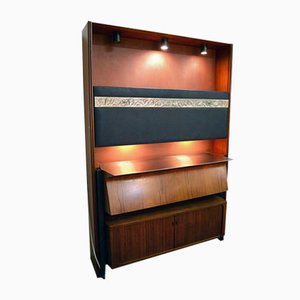 Rosewood Bar Cabinet with Lights and Mirrors by Osvaldo Borsani for Tecno, 1950s