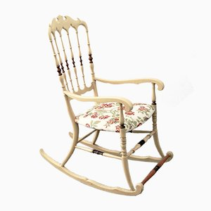 Vintage Chiavarina Rocking Chair in Light Ash with Damask Seat, 1950s