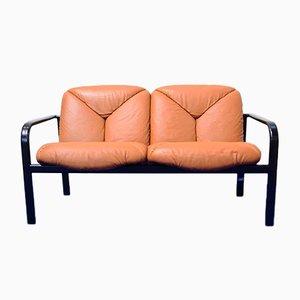 Zwei-Sitzer Sofa aus Leder und bemaltem Stahl von Vico Magistretti für ICF/Knoll International, 1980er