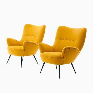 Italienische gelbe Senape Armlehnstühle, 1950er, 2er Set
