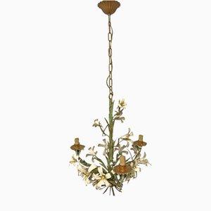 Vintage Italian Tole Flower Bouquet Chandelier