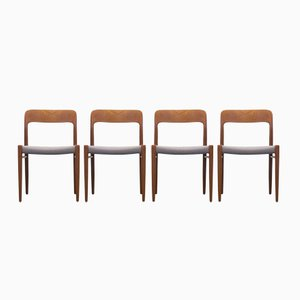 Mid-Century Model 75 Chairs by Niels Otto Møller for J.L. Møller Møbelfabrik, Set of 4