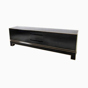 Regency Bronze and Black Lacquer Credenza by Alain Delon for Maison Jansen